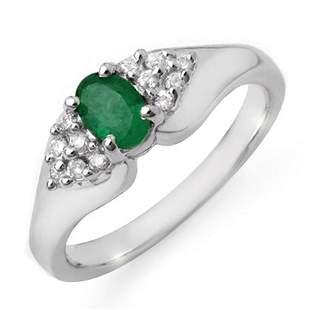 0.63 ctw Emerald & Diamond Ring 14k White Gold -