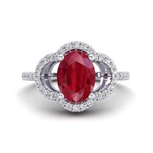 2 ctw Ruby & Micro Pave VS/SI Diamond Certified Ring
