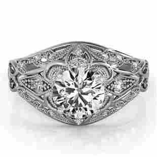 0.87 ctw Certified VS/SI Diamond Antique Ring 14k White