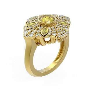 2.32 ctw Canary Citrine & Diamond Ring 18K Yellow Gold