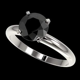 2.09 ctw Fancy Black Diamond Solitaire Engagment Ring