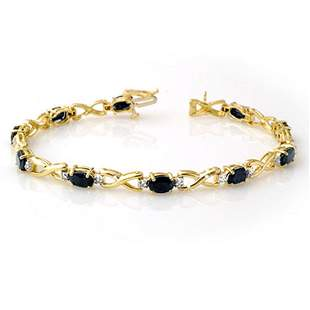 7.0 ctw Blue Sapphire & Diamond Bracelet 10k Yellow