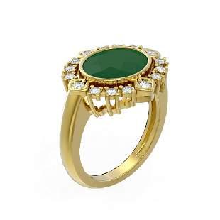 4.54 ctw Emerald & Diamond Ring 18K Yellow Gold -