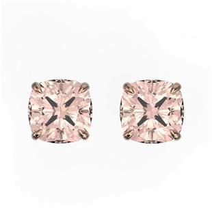 3 ctw Cushion Cut Morganite Stud Earrings 14k Rose Gold