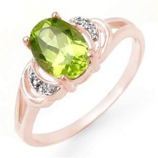 1.55 ctw Peridot & Diamond Ring 14k Rose Gold -