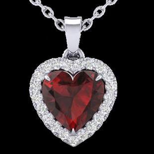 1 ctw Garnet & Micro Pave VS/SI Diamond Heart Necklace