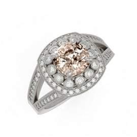 2.29 ctw Certified Morganite & Diamond Victorian Ring