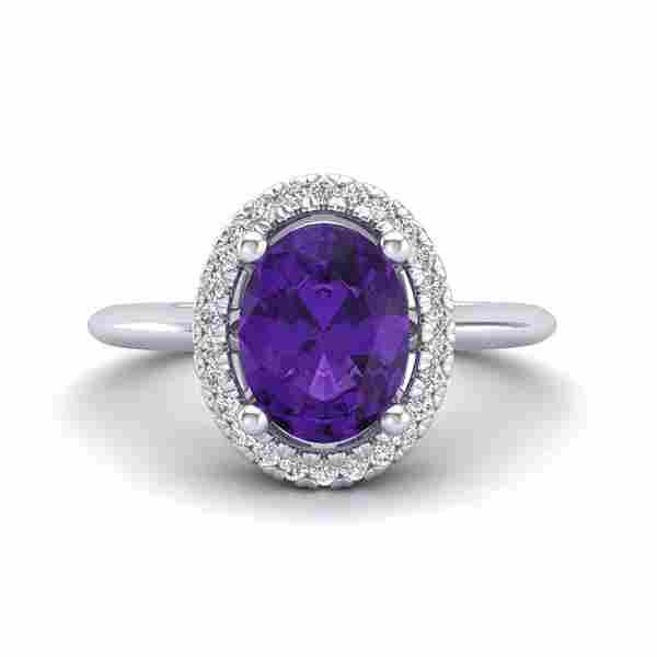 .75 ctw Amethyst & Micro VS/SI Diamond Ring Halo 18k
