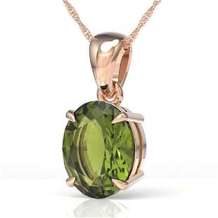 3 ctw Green Tourmaline Designer Solitaire Necklace 14k