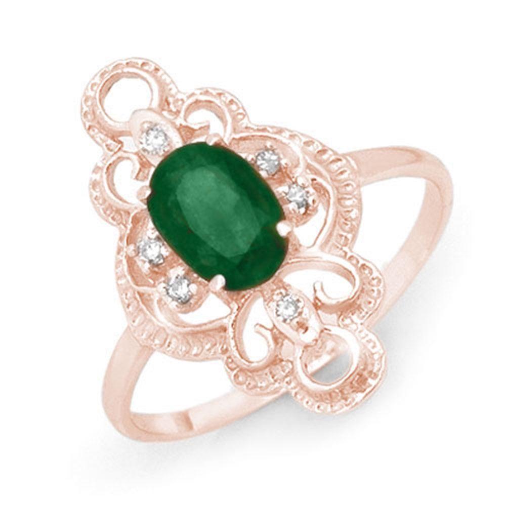 0.71 ctw Emerald & Diamond Ring 10k Rose Gold -