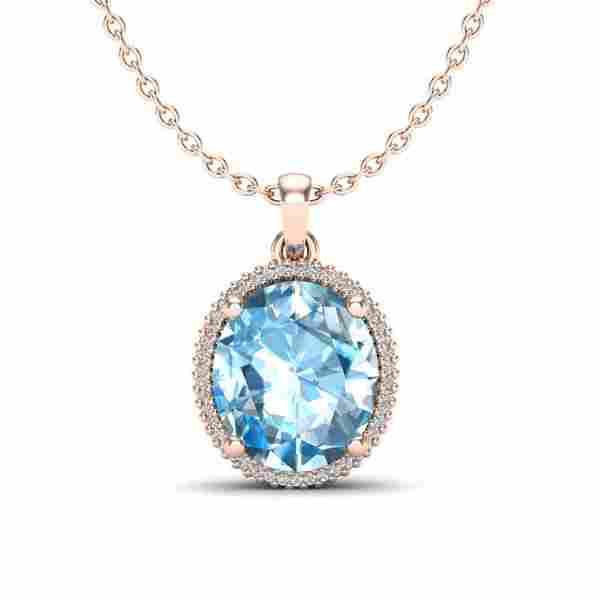 12 ctw Sky Blue Topaz & Micro VS/SI Diamond Necklace