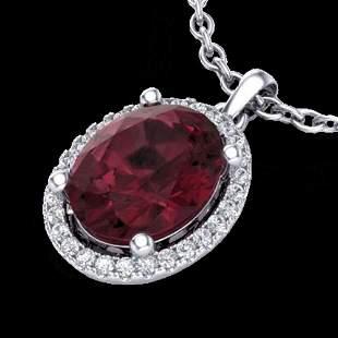 2.50 ctw Garnet & Micro Pave VS/SI Diamond Necklace 18k
