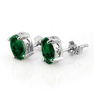 2.0 ctw Emerald Earrings 18k White Gold - REF-21G2W