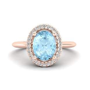 1.50 ctw Aquamarine & Micro VS/SI Diamond Ring Halo 14k