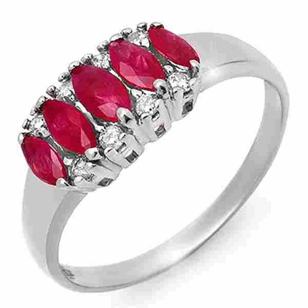 0.77 ctw Ruby & Diamond Ring 10k White Gold - REF-18W4H