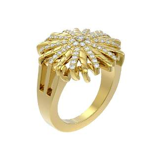 0.77 ctw Diamond Ring 18K Yellow Gold - REF-140X5A