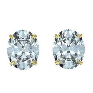 5 ctw Aquamarine Designer Stud Earrings 18k Yellow Gold