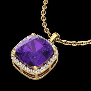 6 ctw Amethyst & Micro Pave VS/SI Diamond Necklace 18k
