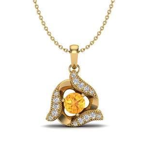 0.40 ctw Citrine & Micro Pave VS/SI Diamond Necklace