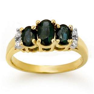 1.33 ctw Blue Sapphire & Diamond Ring 14k Yellow Gold -