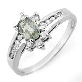 1.08 ctw Green Sapphire & Diamond Ring 10k White Gold -
