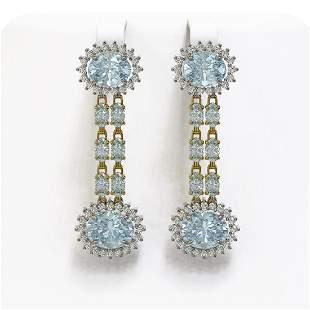 9.85 ctw Sky Topaz & Diamond Earrings 14K Yellow Gold -
