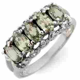 1.80 ctw Green Sapphire & Diamond Ring 10k White Gold -