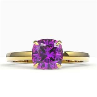 2 ctw Cushion Cut Amethyst Designer Engagment Ring 18k