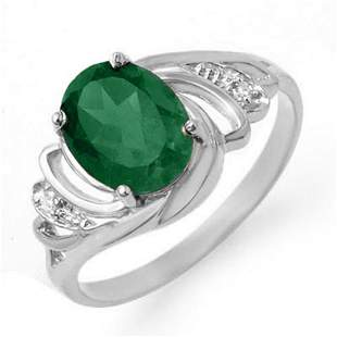 2.14 ctw Emerald & Diamond Ring 18k White Gold -