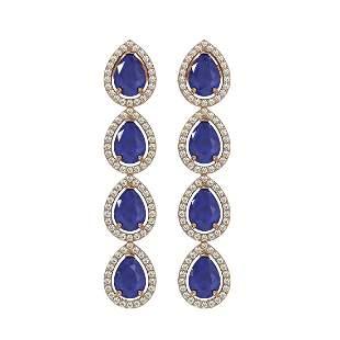 10.2 ctw Sapphire & Diamond Micro Pave Halo Earrings