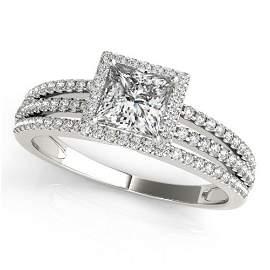 0.95 ctw Certified VS/SI Princess Diamond Halo Ring 14k