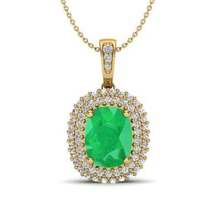 3.15 ctw Emerald & Micro Pave VS/SI Diamond Necklace