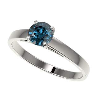 0.77 ctw Certified Intense Blue Diamond Engagment Ring