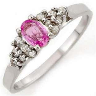 0.74 ctw Pink Sapphire & Diamond Ring 10k White Gold -