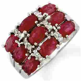 3.15 ctw Ruby & Diamond Ring 18k White Gold - REF-53M5G