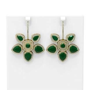 1.28 ctw Emerald Diamond Earrings 18K Yellow Gold -