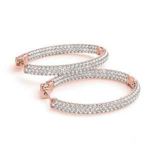 2.75 ctw Diamond VS/SI 38 MM Hoop Earrings 14k Rose