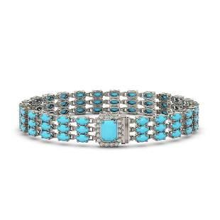 19.27 ctw Turquoise & Diamond Bracelet 14K White Gold -