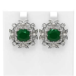 12.23 ctw Emerald & Diamond with Pearl Earrings 18K