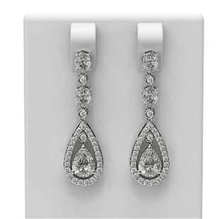4.16 ctw Diamond Earrings 18K White Gold - REF-777H3R