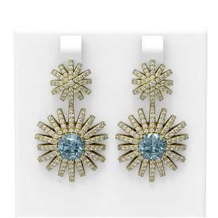 6.2 ctw Aquamarine & Diamond Earrings 18K Yellow Gold -