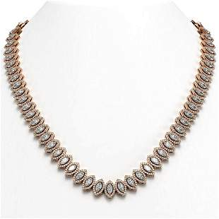 26.11 ctw Marquise Cut Diamond Micro Pave Necklace 18K