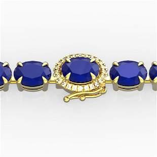 23.25 ctw Sapphire & VS/SI Diamond Micro Pave Bracelet