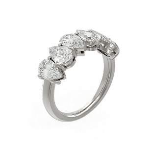 3.12 ctw Pear Diamond Ring 18K White Gold - REF-574Y8X