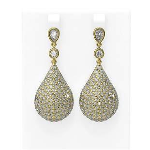 11.35 ctw Diamond Earrings 18K Yellow Gold - REF-870F4M