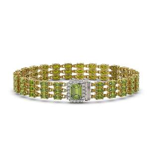 25.49 ctw Tourmaline & Diamond Bracelet 14K Yellow Gold