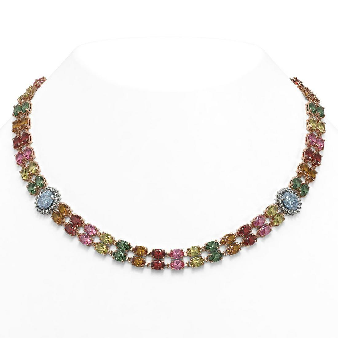 43.68 ctw Sapphire & Diamond Necklace 14K Rose Gold -