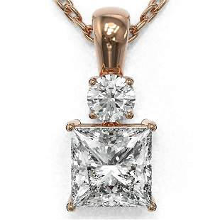 0.9 ctw Princess Cut Diamond Designer Necklace 18K Rose