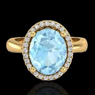 2.50 ctw Aquamarine & Micro Pave VS/SI Diamond Ring 18k
