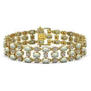 14.15 ctw Opal & Diamond Bracelet 10K Yellow Gold -
